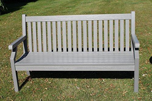 Olive Grove Null Wartung Teak-Effekt Polymer 3 Sitzer Gartenbank - Graue Farbe
