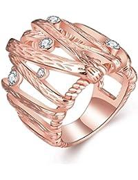 AMDXD Schmuck Rosegold Vergoldet Damen Ringe (Eheringe) Verweben Webart Design 5 Gr.57 (18.1)