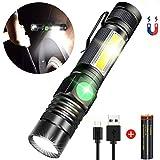 AOMEES Taschenlampe, Magnet Arbeitsleuchte Wiederaufladbar (18650 Batterie Inklusive) 4 Modi Zoombar Wasserdicht COB USB Taschenlampen AOMEES
