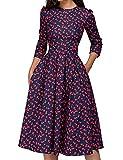 JOJJJOJ Women's 50s Floral Cocktail Vintage Retro Dresses Elegant Midi Evening Dress 3/4 Sleeves