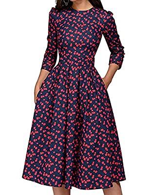 JOJJJOJ Women's 50s Floral Cocktail Vintage Retro Dresses Elegant Midi Evening Dress 3/4 Sleeves