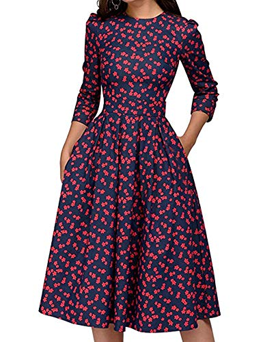JOJJJOJ Damen 50er Jahre Floral Cocktail Vintage Retro Kleider Elegantes Midikleid 3/4 Ärmel (Farbe : RED, Size : S)