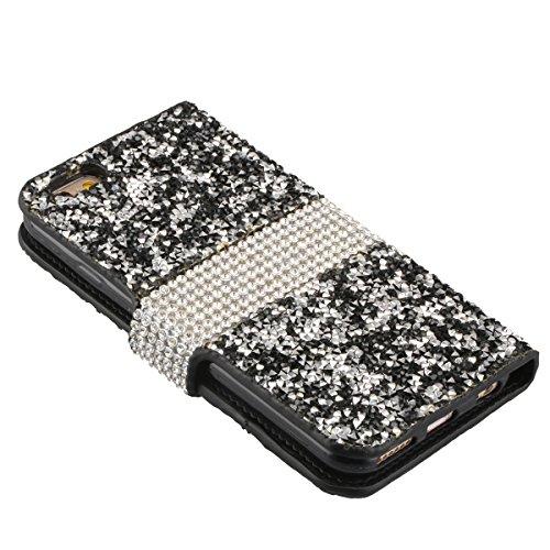Cassa per Apple iPhone 6/6s 4.7, CLTPY Puro Vintage Belle Luccichio il Rhinestone Serie Portatile Back Cover, Completa Semplice Kickstand Resistenza Disegno Protettivo Case per iPhone 6,iPhone 6s + 1 Nero 3