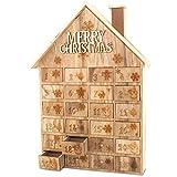 MC-Trend Holz Adventskalender Haus mit Nummerierten Schubladen aufwendig verarbeitet zum Befüllen - Kinder Erwachsene