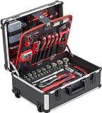 Meister Werkzeugtrolley 238-teilig - Werkzeug-Set - Mit Rollen - Teleskophandgriff / Profi Werkzeugkoffer befüllt / Werkzeugkiste fahrbar auf Rollen / Werkzeugbox komplett mit Werkzeug / 8971480