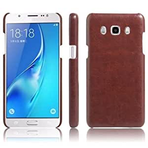Americhome TM Luxury Cowboy Leather Case UltraThin Back Cover For Samsung J7 ( 2016 ADTION) (Brown)