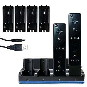 4 Akku 2800mAh mit Ladegerät Ladestation für Nintendo Wiimote Wii Weiss ODER Schwarz eleganter blauer Beleuchtung