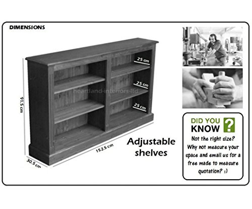 Best Price Solid Pine Bookcase in Dark Oak, 3ft x 5ft Handcrafted & Waxed Split Adjustable Storage Display Shelving, Bookshelves. Choice of Colours. No flat packs, No assembly (BK7S) Review