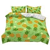 Bettwäsche Set 3 Stück Tropisch Pflanze Frucht Ananas Muster Drucken Bettbezug und Kissenbezug Superfeines Polyester Weich und atmungsaktiv (Hellgrün, 220x260 cm)