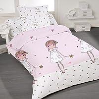 Make a wish - SoulBedroom Juego de cama, 100% Algodón (funda de edredón 140x200 cm y 1 funda de almohada 65x65 cm) / cama de 90 cm (individual)