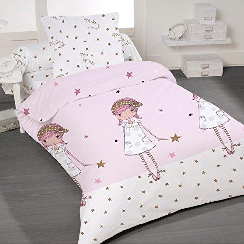 Make a wish - SoulBedroom 100% Baumwolle Kinderbettwäsche (Bettbezug 135x200 cm & Kissenbezug 80x80 cm) (Rot König Bettwäsche-set)