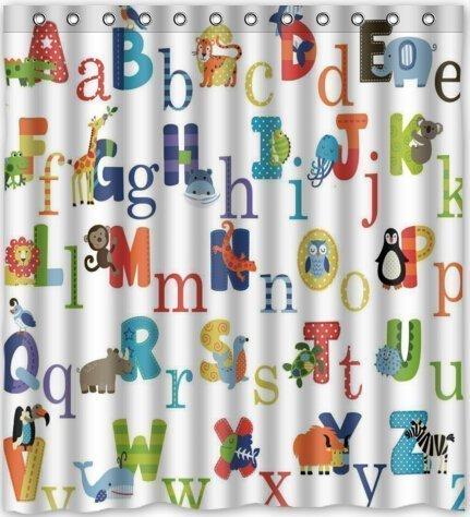 Duschvorhang Company ABC Alphabet Wasserdicht Stoff Polyester Badezimmer Dusche Vorhang 167,6cm (W) X 182,9cm (H) - Alphabet Olive