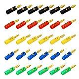 KEESIN 4mm Banane Stecker Gold Überzogen Sortierte Farbe Audio Lautsprecherkabel Kabel Stecker 30 Stück