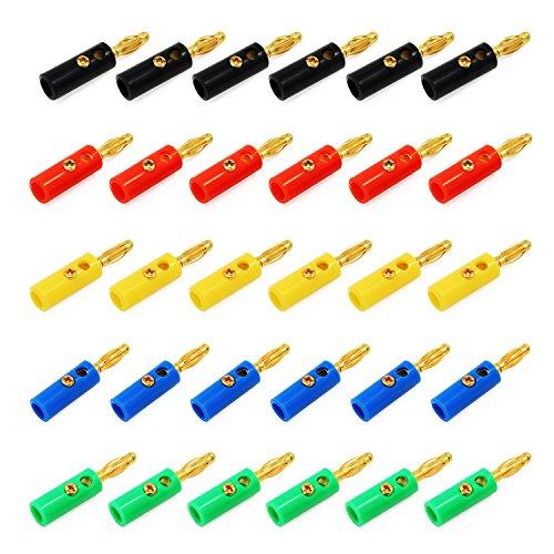 KEESIN 4mm Banane Stecker ,Gold Überzogen Sortierte Farbe Audio Lautsprecherkabel Kabel, Stecker ,30 Stück (Stecker Banana Lautsprecherkabel)