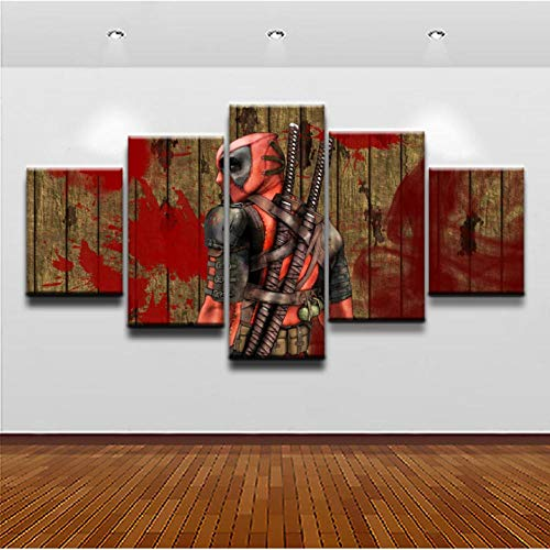 Wslin Leinwanddrucke Moderne Hd Print Leinwand Malerei Bild Home Decor Malerei 5 Panel Comics Poster Mit Mund Wand Bild Decor Drucke Auf Leinwand 200X100Cm