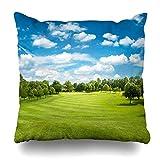 Throw Pillows Covers Course Green Golf Field Blue Cloudy Sky European Landscape Park Fairway Home Decor Pillowcase Square Size 18 x 18 Inches Cushion Case