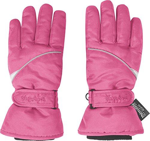 Playshoes Kinder Schnee-Handschuhe mit Thinsulate-Technik und und Schneefang im Schaft Unisex Fingerhandschuhe mit Klettverschluss, pink, 3