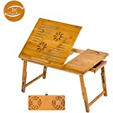 I K Bamboo Wooden, Foldable, Multipurpose (Study / Reading / Eating / Craft-work) Laptop Table with Two Cooling Fans