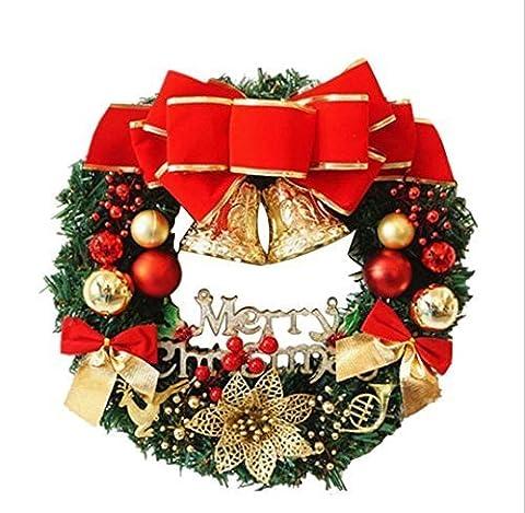UChic 30 cm Weihnachten Große Kranz Tür Wandbehang Ornamente Rote Bowknot Jingle Bells Garland Dekoration Geschenke für Weihnachten Party Decor Haustür Kranz