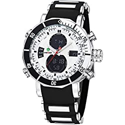 Alienwork DualTime Analogue-Digital Watch Chronograph LCD Wristwatch Multi-function Polyurethane black black OS.WH-5203J-02