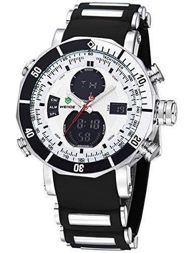 Alienwork DualTime Analog-Digital Armbanduhr Chronograph LCD Uhr Multi-funktion schwarz Polyurethan OS.WH-5203J-02