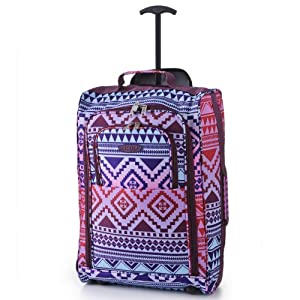 Frenzy® / Cities® Lightweight Hand Luggage Travel Holdall Baggage Wheely Suitcase Cabin Approved Bag Ryanair Easyjet And Many More - 1.6k - 40 Litres - PADLOCK INCLUDED (Aztec Multi)