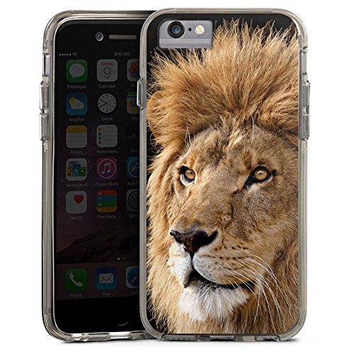 Apple iPhone 6s Plus Bumper Hülle Bumper Case Glitzer Hülle Lion King Lion Raubkatze Bumper Case transparent grau