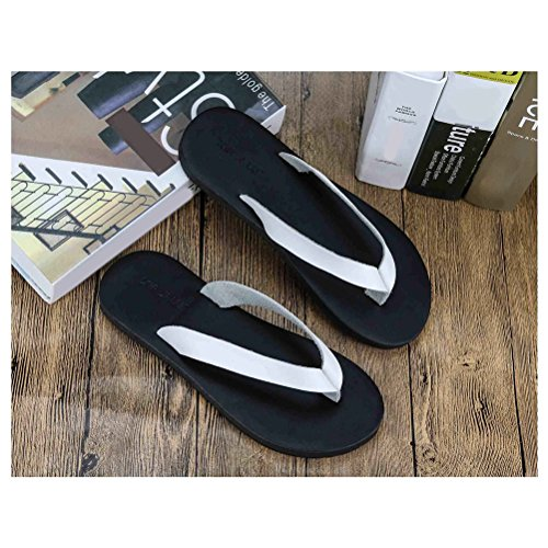 Zhhlinyuan Beach Comfortable Flat Sandals Mens Simple Non-slip Flip Flop Shoe White