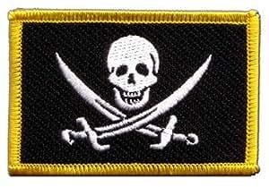 Écusson brodé Flag Patch Pirate avec deux épées - 8 x 6 cm