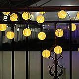 Japace® Guirnalda Luces de la Linterna 4.85M 20er Cadena Solar Luces Impermeables (IPX44) Luces Solares Jardin con Luz Fija o Parpadeando para la Ventana , el Balcón o el Jardín---Blanco cálido