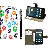 Funda para Alcatel One Touch Pop D5 5038D , Kamal Star® Funda Cuero PU Billetera Folio Carcasa, [Stylus Libre] Piel Case Cover con Soporte Plegable para Alcatel One Touch Pop D5 5038D (Multi Dog Cat Paw Print Book)