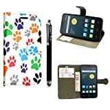 für Alcatel One touch Pop Star 5022D, Kamal Star® Kunstleder Tasche PU Schutzhülle Tasche Leder Brieftasche Hülle Case Cover + Gratis Universal Eingabestift (Multi Dog Cat Paw Print Book)