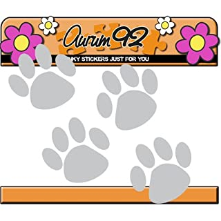 Aurum92Car Sticker, Silver, Pack of 46, Paw Prints
