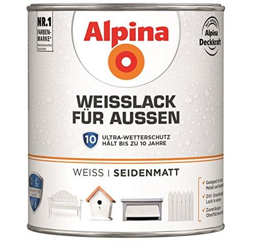 Alpina Weißlack für Außen Ultra Wetterschutz seidenmatt 2 Liter