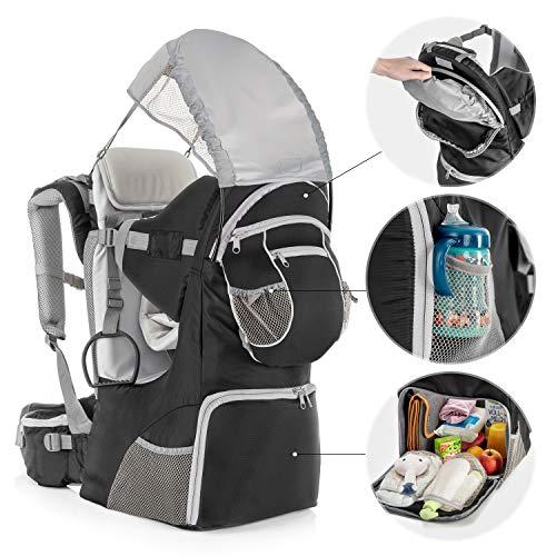 Imagen para Fillikid - Mochila Portabebés Espalda con protección solar, cinturón, compartimentos almacenaje y mochila extraíble - Silla Senderismo para bebés y niños pequeños hasta 18 kg - Gris
