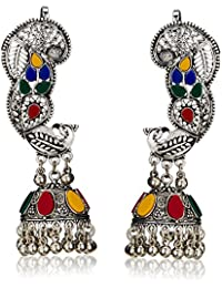 Young & Forever mothers day gift for mom Boho Gypsy Collection Splendid Brass Jaipur Jewels Antique Silver Oxidized Full Ear Earrings Earcuff for girls navratri jewellery for women (E60241)