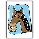 1 Geburtstagskarte: Schöne Gratulations Grußkarte mit lustigem Pferd : nicht nur für kleine Mädchen