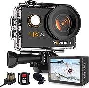 Yolansin Action Cam 4K Fotocamera 20MP 40M Impermeabile Super EIS Sport Camera con Grandangolo 170°HD DV Telec