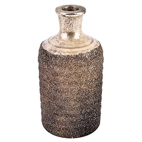 Dadeldo Living & Lifestyle Vase Ethno-Chique Design Glas champagne-gold Blumenvase Dekoration (17x8x8cm)