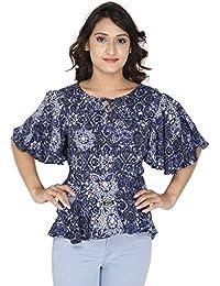 Gugg Women's Self Design Top [GS16A68_BLUE]