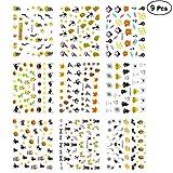Frcolor 9pcs Halloween Nail Art Sticker 3D Nail Stamp modelli assortiti Manicure Decoration per le donne (colore misto)