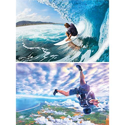 GREAT ART 2er Set XXL Poster Surfer und Skydiver Wandbild Dekoration Surf Skydiving Extrem-Sport Adventure Set - Bild Wallpaper Foto-Poster Wanddeko Wand-Poster (140 x 100cm)