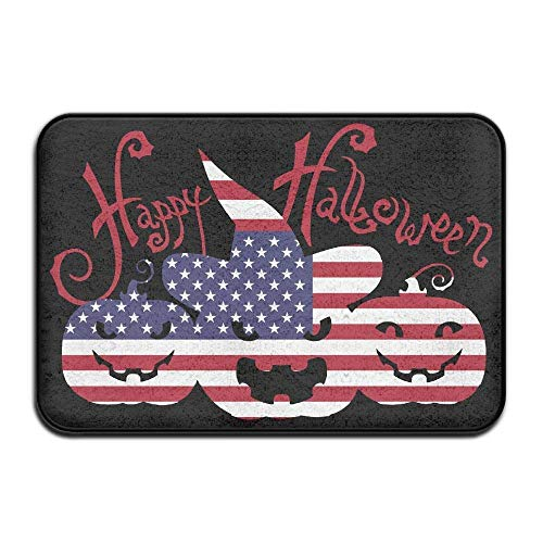 tdoor,Decorative Garden Office Bathroom Door Mat with Non Slip, Inside & Outside Door Mats Happy Halloween American Flag Pumpkin Design Pattern for Hallways and Foyers ()