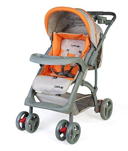 LuvLap Baby Stroller Pram Sports (Gray/Orange)