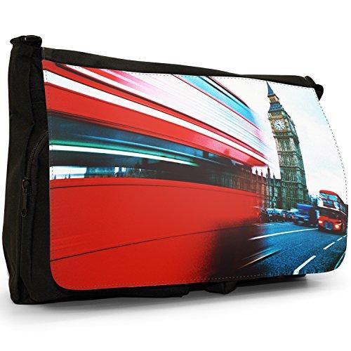 Fancy A Bag Borsa Messenger nero Mind The Gap Sign on London Underground Double Decker Red Bus Big Ben