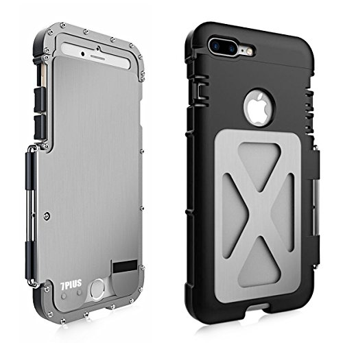 Alienwork Metal Gear Custodia per iPhone 7 plus antiurto Cover Case Bumper Supporto Acciaio inossidabile argento AP7P06-02