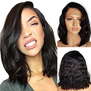 Googoo Bob Human Hair Wigs Curly Black Lace Front Wig Virgin Hair 12inch Short Bob Wig 100% Real Human Hair Wigs Glueless Natural Hair Wigs for Women 130% Density Brazilian Wigs with Baby Hair