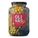 OLIVAS Cocktail-Mix / 2.500 g (Gallone) * Grüne & Schwarze Oliven, Silberzwiebeln, Gewürzgurken und Paprika