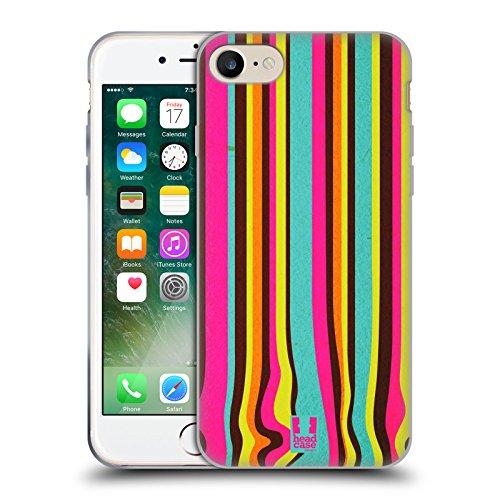 Head Case Designs Schwarz Und Weiss Dynamische Streifen Soft Gel Hülle für Apple iPhone 7 / iPhone 8 Kernschmelze