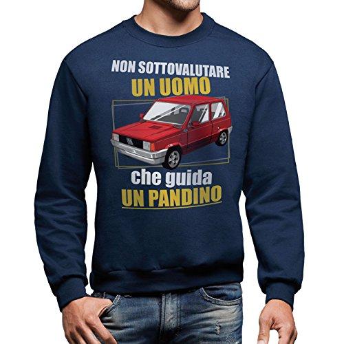 MUSH Felpa Girocollo Non Sottovalutare Un Uomo Che Guida Un PANDINO-Panda Fiat by Dress Your Style - Uomo-M-Blu Navy